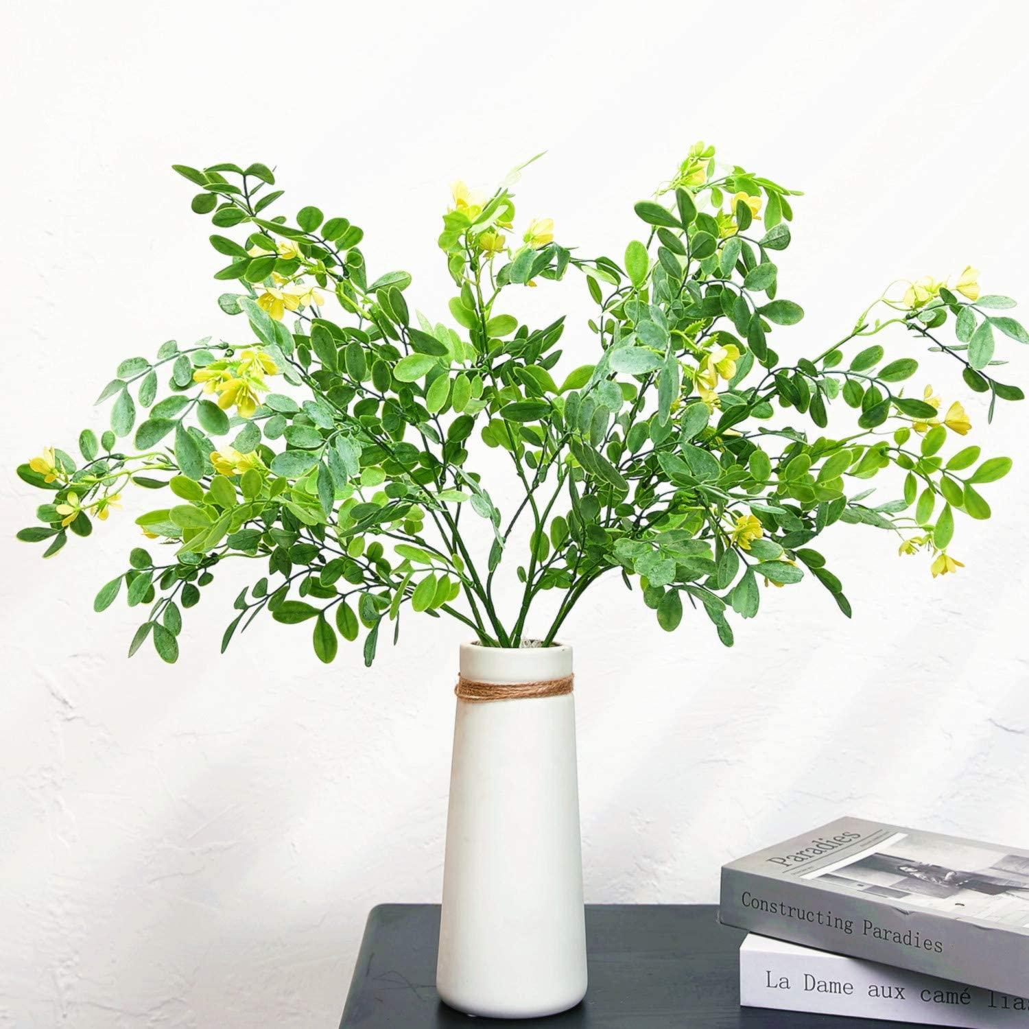 Artificial Locust Branches Greenery Eucalyptus Leaves Spray with Flowers Faux Tropical Plants Stems for Home Indoor Outdoor Wedding Decor (Green, 4Pcs/Pack)