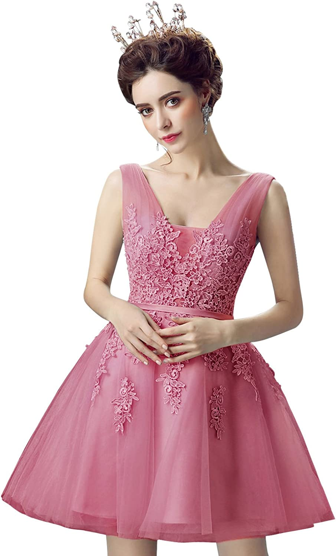 MisShow Damen Prinzessin Spitzen Ballkleid T/üll Abendkleid Brautjungfernkleid Applique Kurz R/ückenfrei Gr.32-46