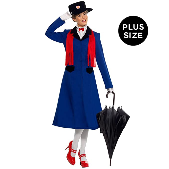 Edwardian Costumes – Cheap Halloween Costumes Mary Poppins Plus Adult Costume $58.49 AT vintagedancer.com