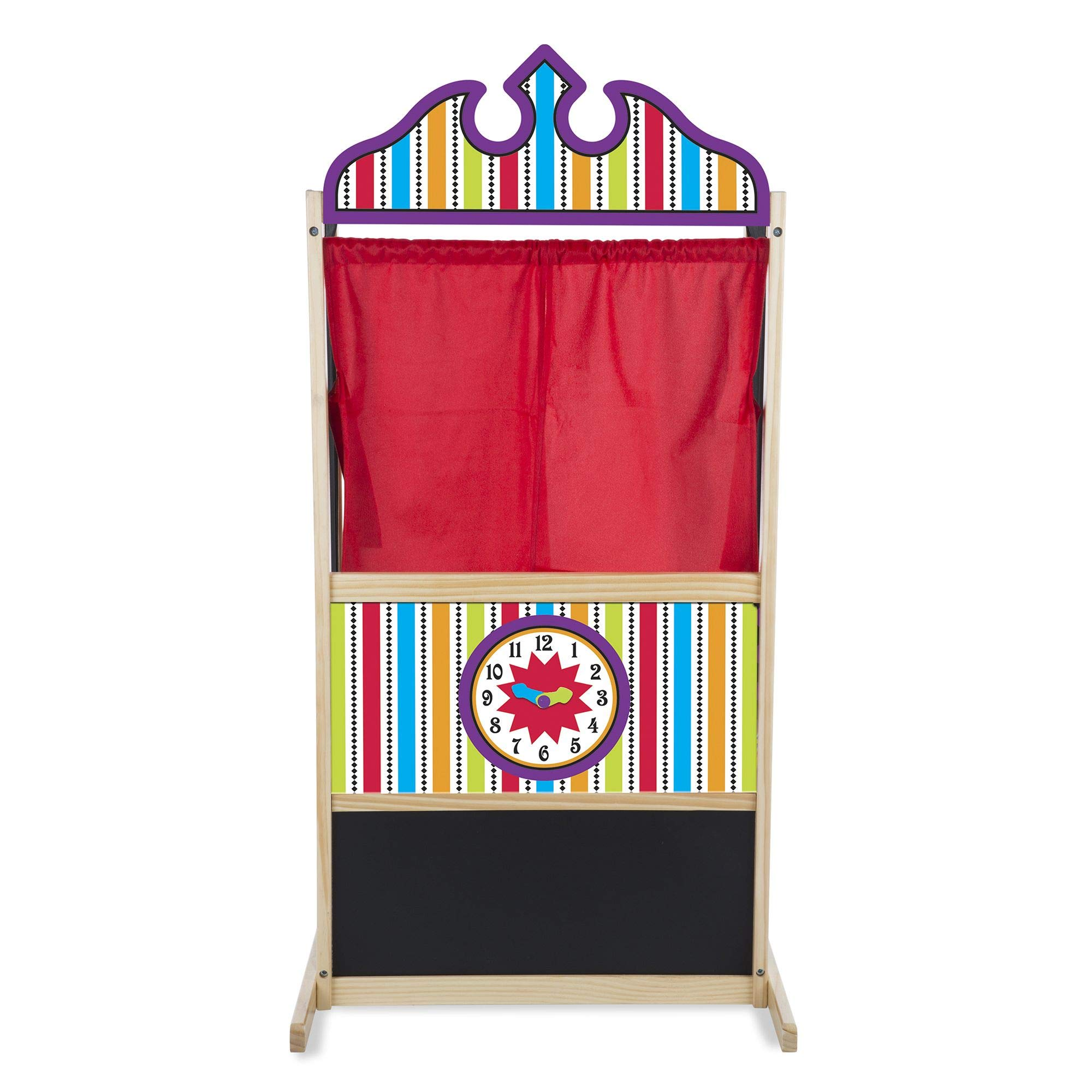 Melissa & Doug Deluxe Puppet Theater, Sturdy Non-Tip Base, Plush Curtains, 52 ″ H × 18″ W × 24.75″ L