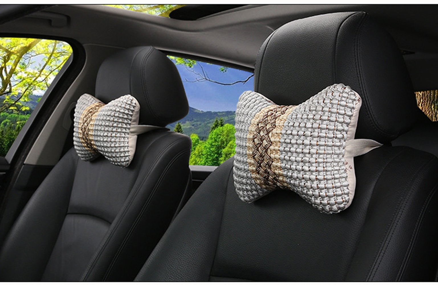 SLY Car Neck Head Support Pillow Headrest Cushion Nature Fiber More Healthier Softer for Relieve Neck Fatigue Home Rest Breathable and Comfortable Set Of 2