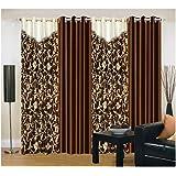 Super India Plain Combo 4 Piece Eyelet Polyester Door Curtain - 7ft, Brown