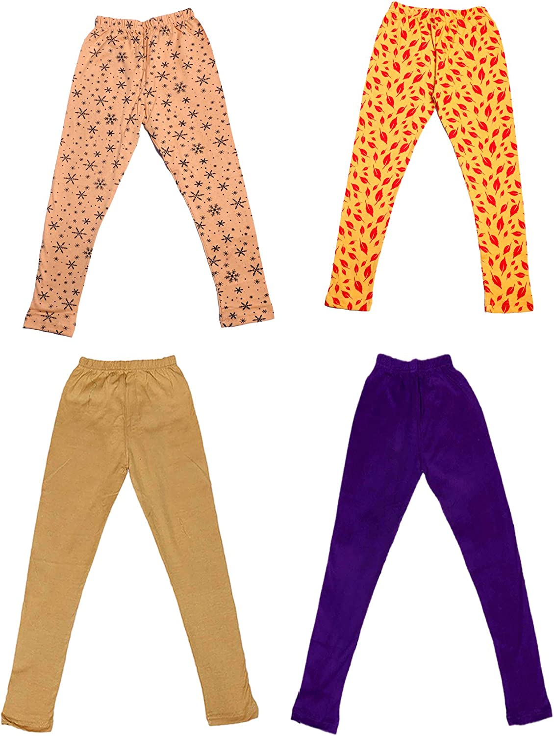 and 2 Cotton Printed Legging Pants Pack Of 4 /_Multicolor/_Size-7-8 Years/_71401021819-IW-P4-30 Indistar Girls 2 Cotton Solid Legging Pants