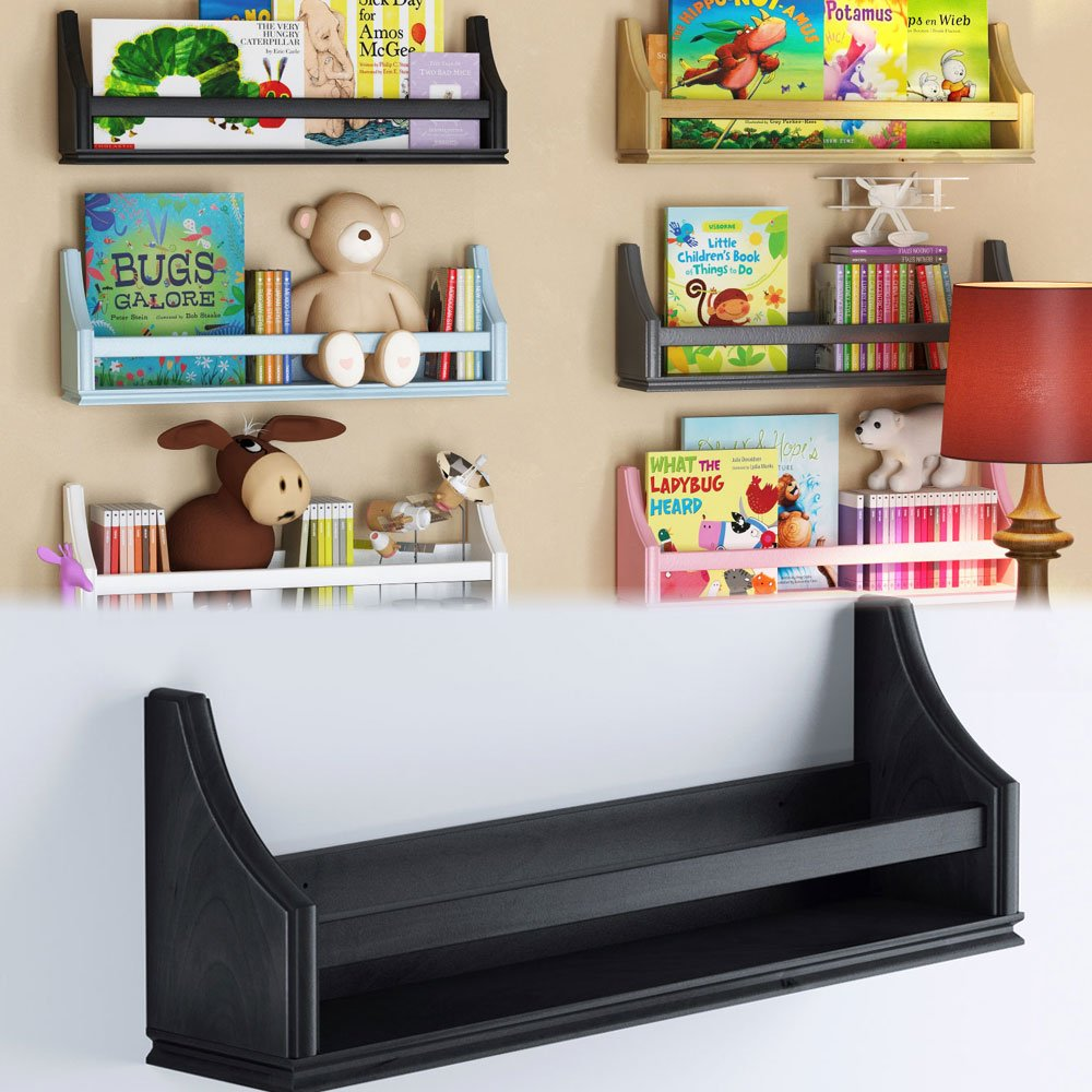 brightmaison 1 Black Molding Design Children's Wall Shelf Birch Wood 20 Inch Multi-use Bookcase Toy Game Storage Display Organizer Ships Fully Assembled