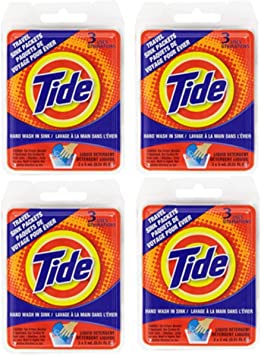 Tide Travel Sink Packets 3ct Laundry Detergent for Hiking, RV, Camping, Backpacking, Outdoors, International (Pack of 4)