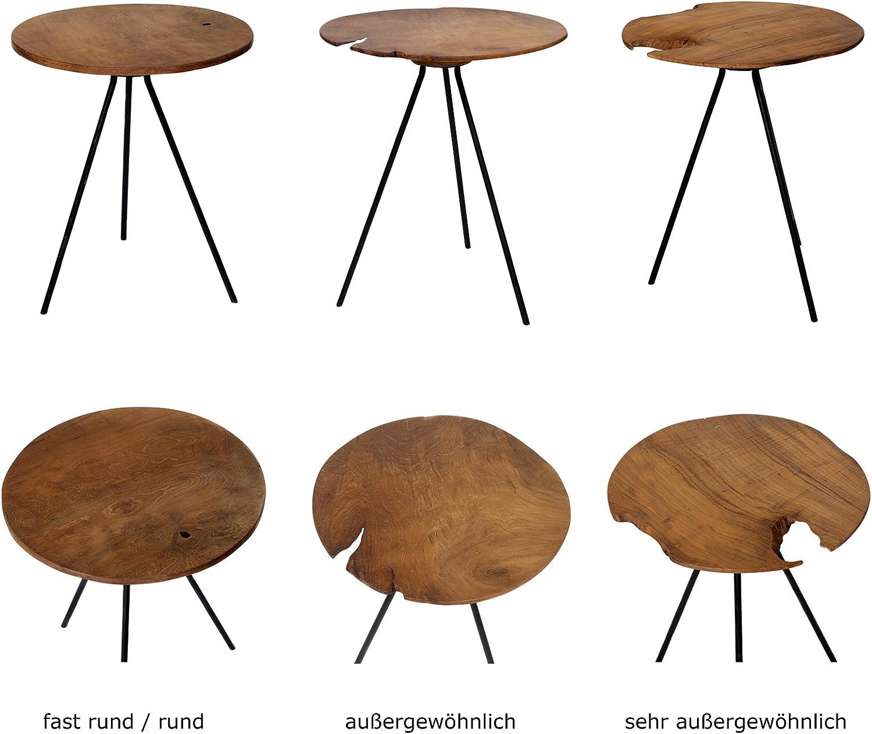 Metallo au/ßergew/öhnlich /Ø 40 Language/_Tag - De/_de Stile Vintage Rotondo Metallo Map in Legno di Teak Brillibrum Design Tavolino da Salotto Marrone