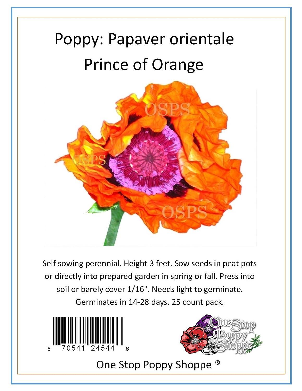 Amazon 25 Oriental Poppy Flower Seeds Prince Of Orange