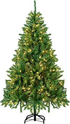 BuyHive 6ft Artificial Christmas Tree Pre-Lit Xmas Tree Holiday Season Decoration w/300 Lights & Stand
