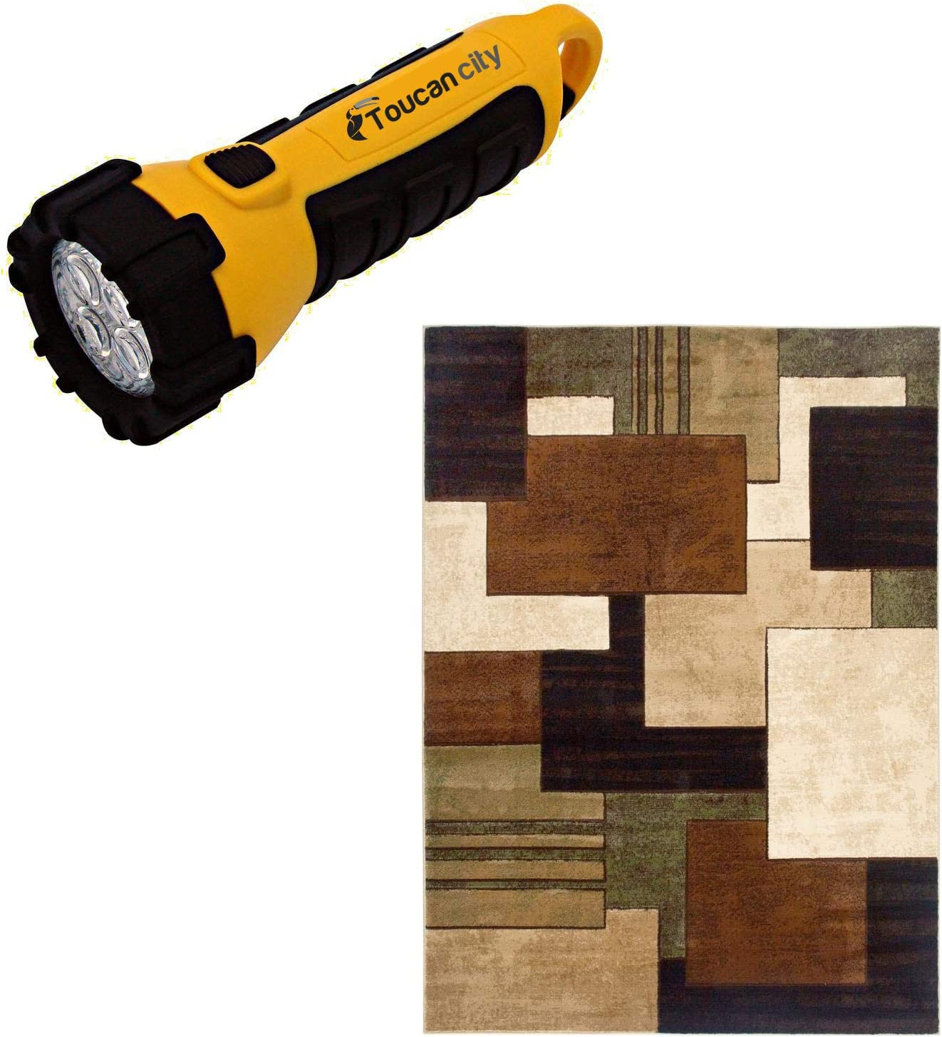 Toucan City LED Flashlight and Home Dynamix Tribeca Brown/Green 5 ft. x 7 ft. Indoor Area Rug 2-HD5367-548