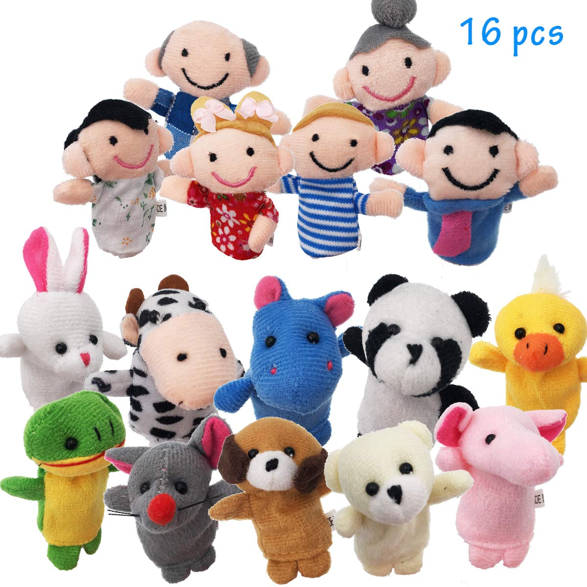 URUTOREO Finger Puppets Set, 16 Pcs -10 Animals and 6 People Family Members Story Time Velvet Puppets Toys for Children Kids Toddlers School Playtime Show Gift