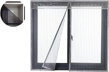 Liveinu Moustiquaire de Porte Ou Fenetre Magnetique Rideau Moustiquaire De Porte Avec Aimants Gris 90x150cm