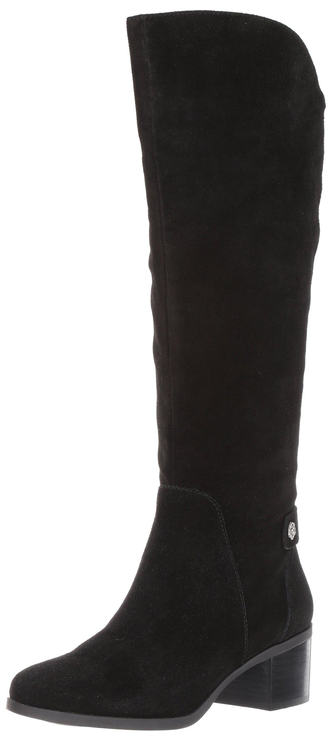 Anne Klein Women's Jela Suede Fashion Boot, Black Suede, 8 M US