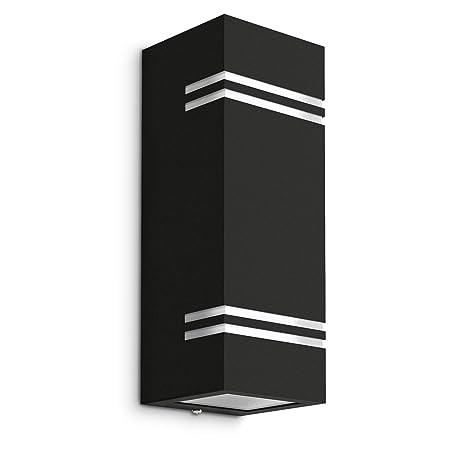 schwarz up/&down Außen-Wandleuchte Aufbau-Leuchte Alu 2 x GU10 5W neutralweiß