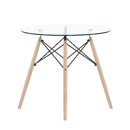 IPOTIUS Table Salle à Manger en Verre Ronde Scandinave 2 à 4 Personnes  Table de Cuisine Moderne avec Pieds en Bois 80x75cm