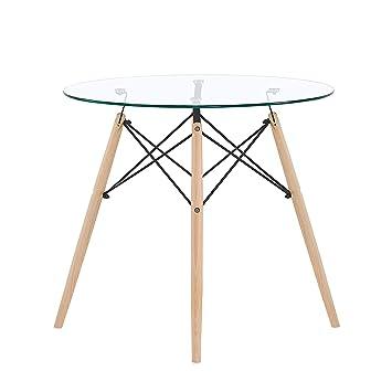 Eggree Table Salle à Manger En Verre Ronde Table De Cuisine Scandinave Design Pieds En Bois Et Armature En Métal 80x80x75cm