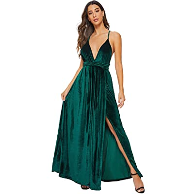 SheIn Women's Sexy Satin Deep V Neck Backless Maxi Party Evening Dress at Women's Clothing store