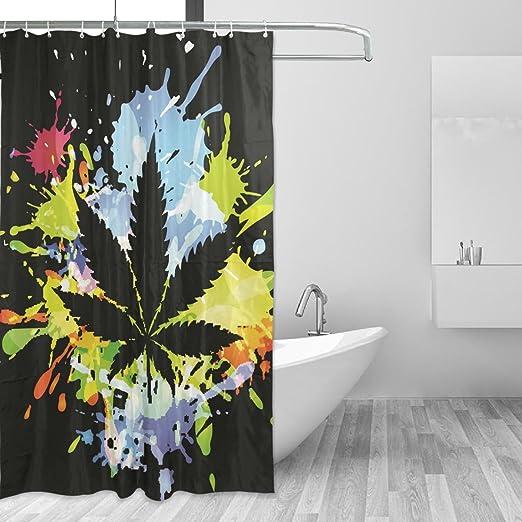 WIHVE Cortina de ducha Marihuana Hoja Cannabis 60x72 pulgadas ...