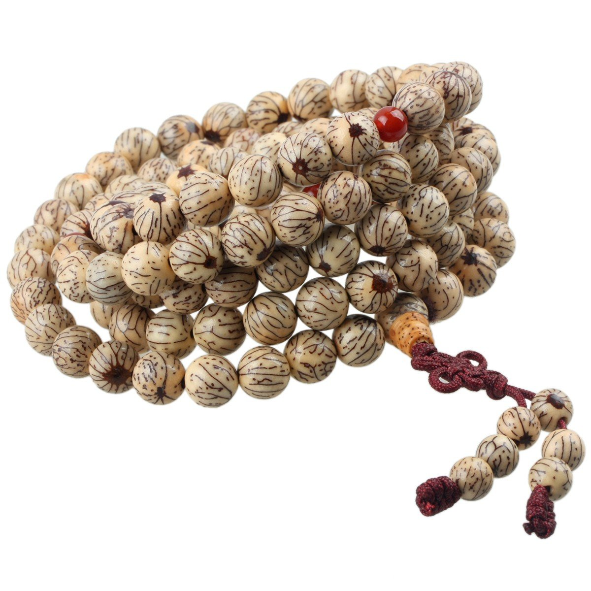 rockcloud 108 Buddhist Prayer Beads Natural Wood Tibetan Mala Necklace 7 Chakra Healig Stones Meditation Bracelet
