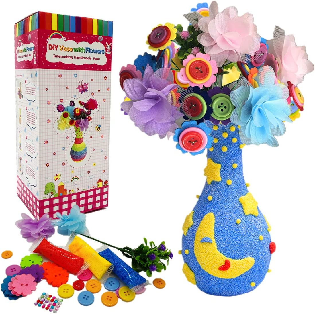 Fun Activity for Boys /& Girls Age 4 5 6 7 8 9 10 11 12 Years Old M-Aimee 2 Packs Flower Craft Kit for Kids,Colorful Flower /& Vase Art Kits DIY Your Own Flower with Button and Lace Flowers Crafts