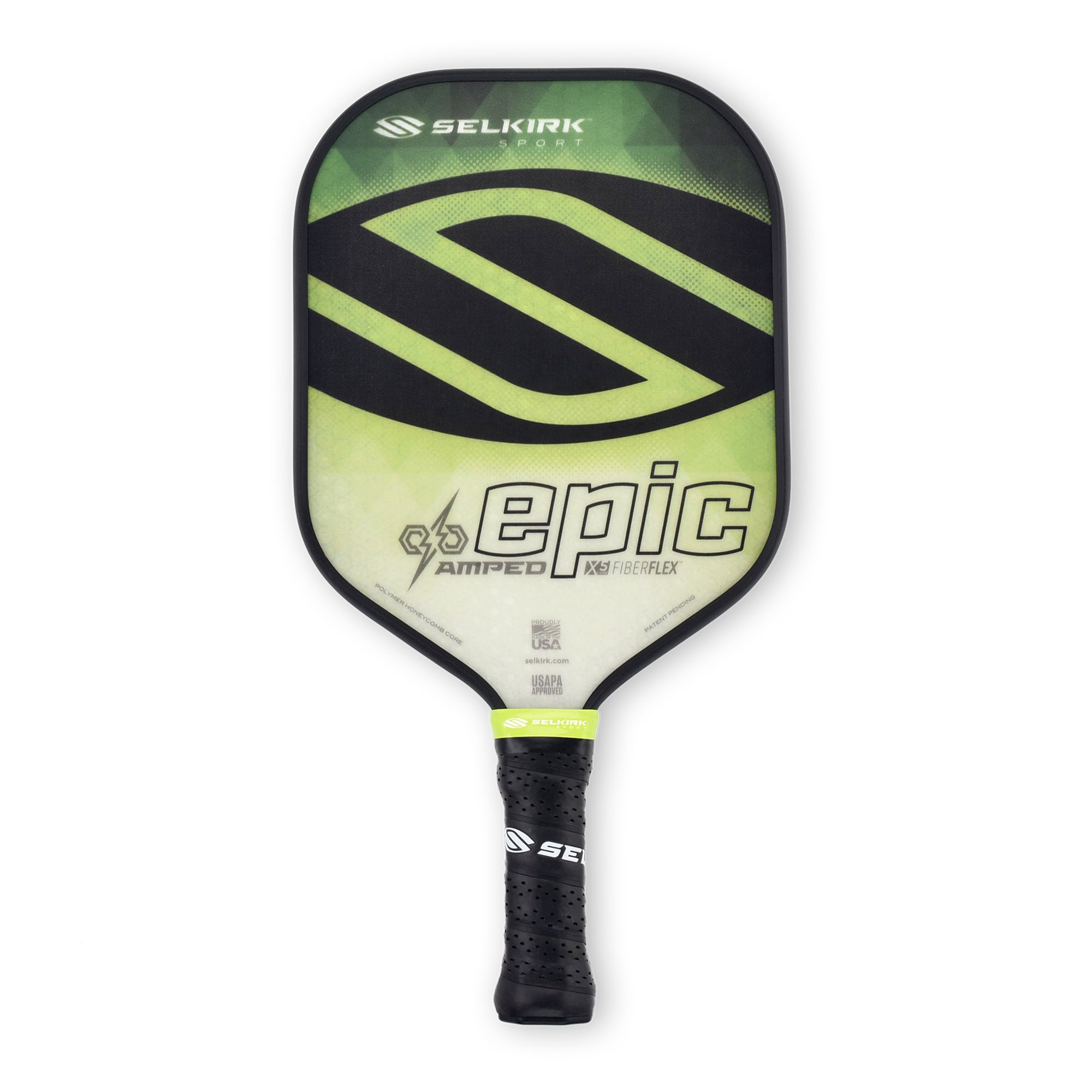 Selkirk Amped Pickleball Paddle - USAPA Approved - X5 Polypropylene Core - FiberFlex Fiberglass Face - 5 Sizes: Epic, S2, Omni, Maxima, and INVIKTA (Epic Midweight - Emerald Green)