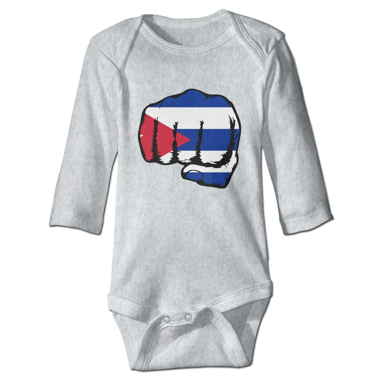 A14UBP Newborn Baby Boys Girls Long Sleeve Romper Bodysuit Blue Line Law Enforcement Cuba Flag Playsuit Outfit Clothes