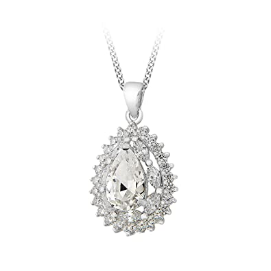 Tuscany Silver Sterling Silver White Cubic Zirconia Cluster Teardrop Pendant on Chain Necklace of 46cm/18 cpL8VGYIa