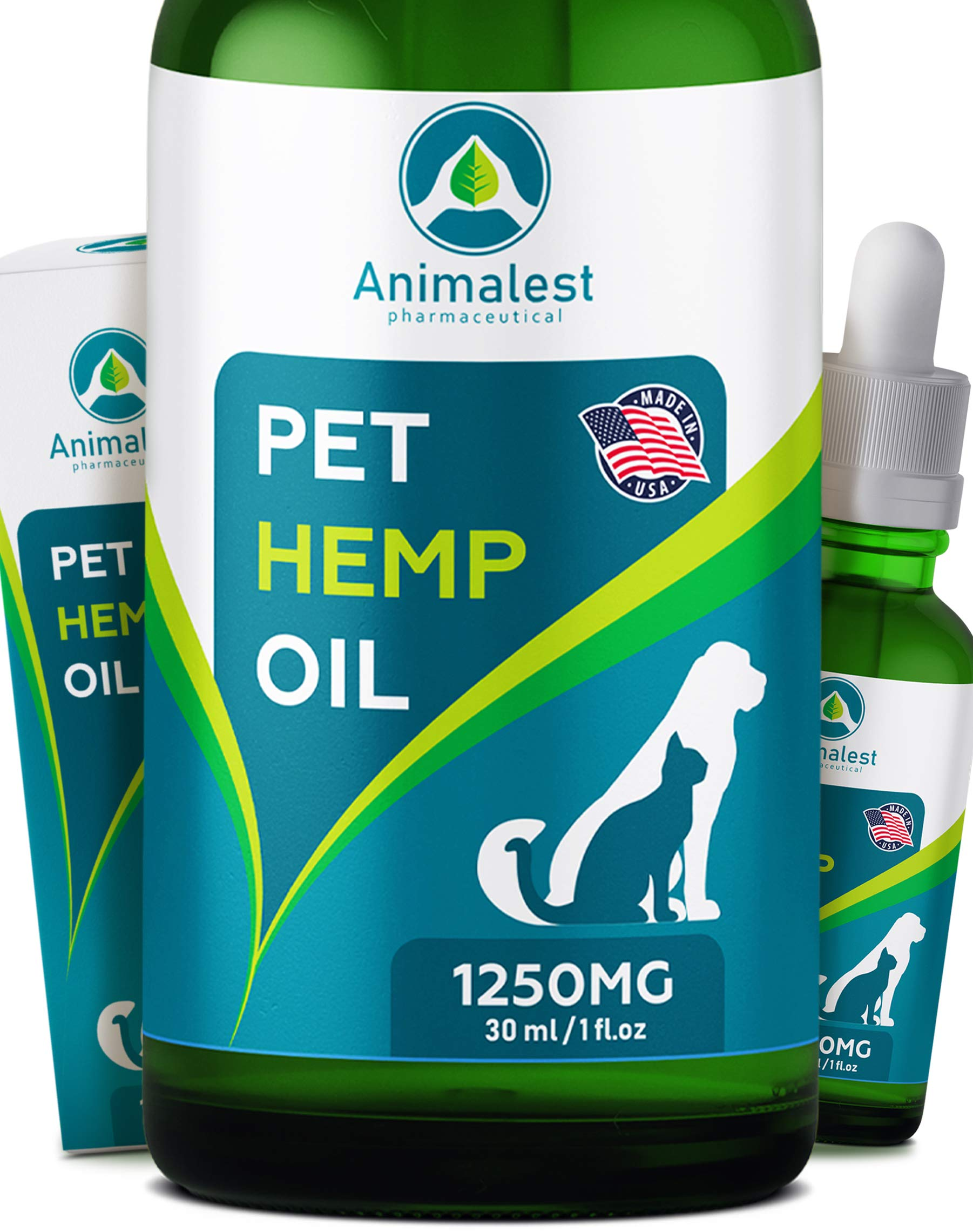 Animalest - Hemp Oil Dogs Cats - 1250 Mg - Relief Dog Cat Hemp Oil Calming Treats - Pets Anxiety Tension Hip Seizures Joint Pain Remedy Arthritis Sleep Stress - Omega 3,6,9 Pet Vitamins - 6in1 Drops by Animalest