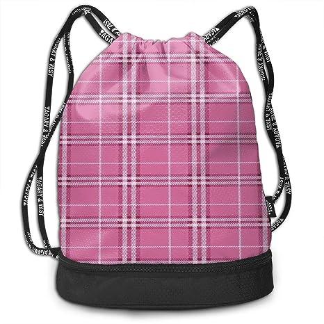 b09e7b6fbaf1 Amazon.com: HUOPR5Q Classic Pink Plaid Drawstring Backpack Sport Gym ...