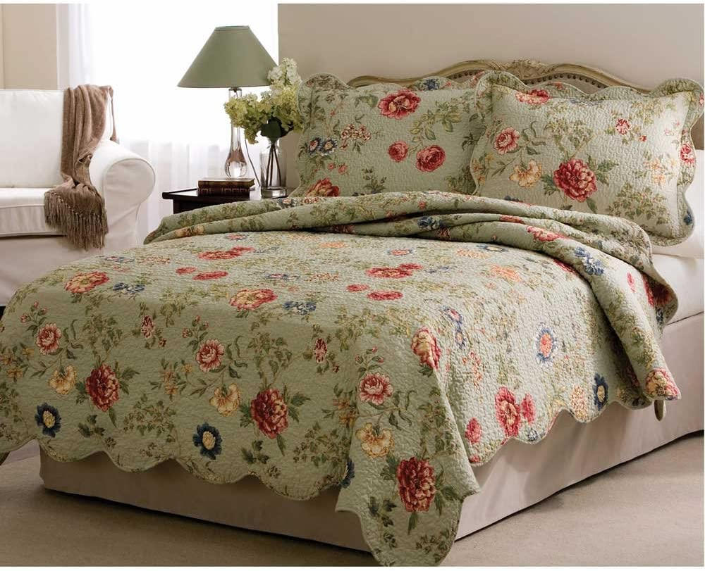 Lifestyle qs2885kg Pem America Edens Garden Quilt with 2 Shams, King