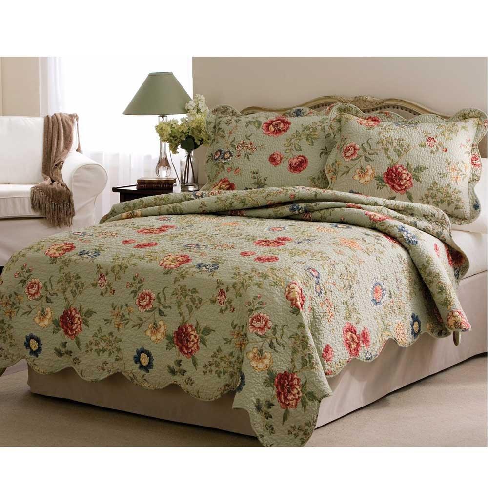 Amazon.com: Edens Garden King Quilt with 2 Shams: Home & Kitchen