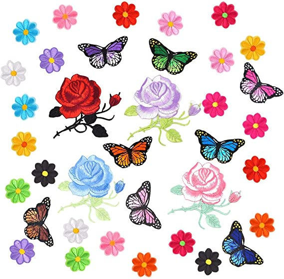 Czorange Butterfly Applique Clothing Iron On Patch Embroidery Applique Patches Rose Flowers for Arts Crafts DIY Decor Bags Clothing Pack of 40 Pieces Jackets Jeans