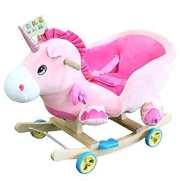Holzspielzeug Spielzeug Schaukelpferd Schaukeltier Plüsch EINHORN Schaukel  Kinder Baby Spielzeug Musik