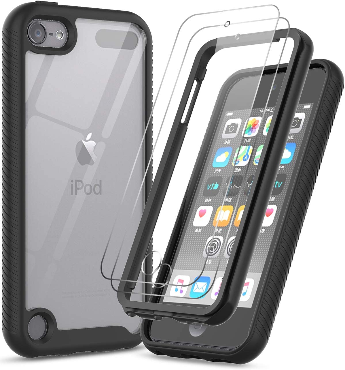 iPod Touch 7 Case, iPod Touch 6 Case with Tempered Glass Screen Protector [2 Pack], LeYi Full-Body Protective Hybrid Rugged Shockproof Bumper Clear Case for Apple iPod Touch 7th / 6th / 5th Gen, Black