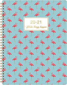 """2020-2021 Planner - Weekly & Monthly Planner 2020-2021 with Premium Thick Paper, 8.35"""" x 10.8"""", Jul 2020 - Jun 2021, Twin-Wire Binding with White Paper and Flexible Cover with Pink Pattern"""