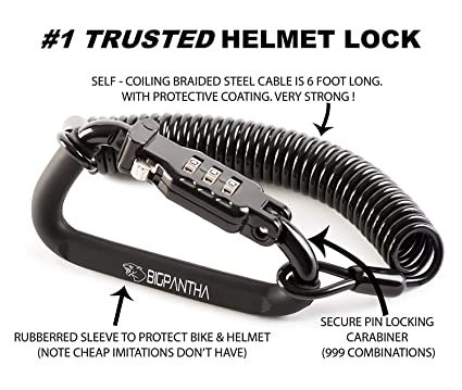 BigPantha - Candado para Casco de Motocicleta y Cable Elegante mosquetón Negro con combinación rígida Que