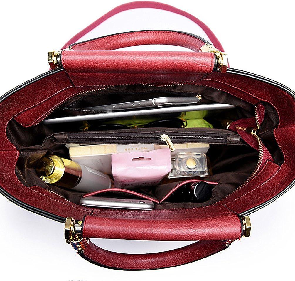 H/&N Leather Top Handle Bags Floral Satchel Handbag Shoulder Purses