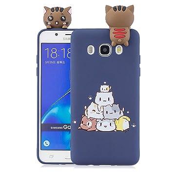 Funluna Funda Samsung Galaxy J7 2016, 3D Gato Patrón Ultra Delgado ...