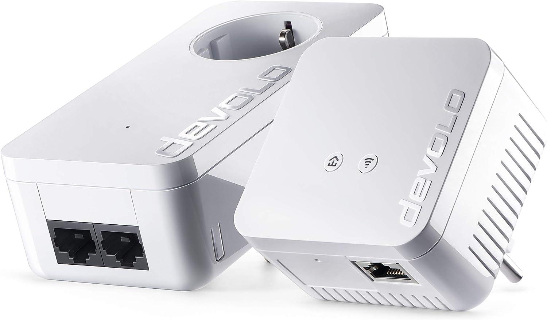 Devolo dLAN 550 WiFi - Kit de Inicio PLC Powerline (500 Mbps, 2 x adaptadores, 2 x Puertos LAN, Enchufe WiFi, Amplificador de señal WiFi, Mejorar WiFi, WiFi Move), Blanco