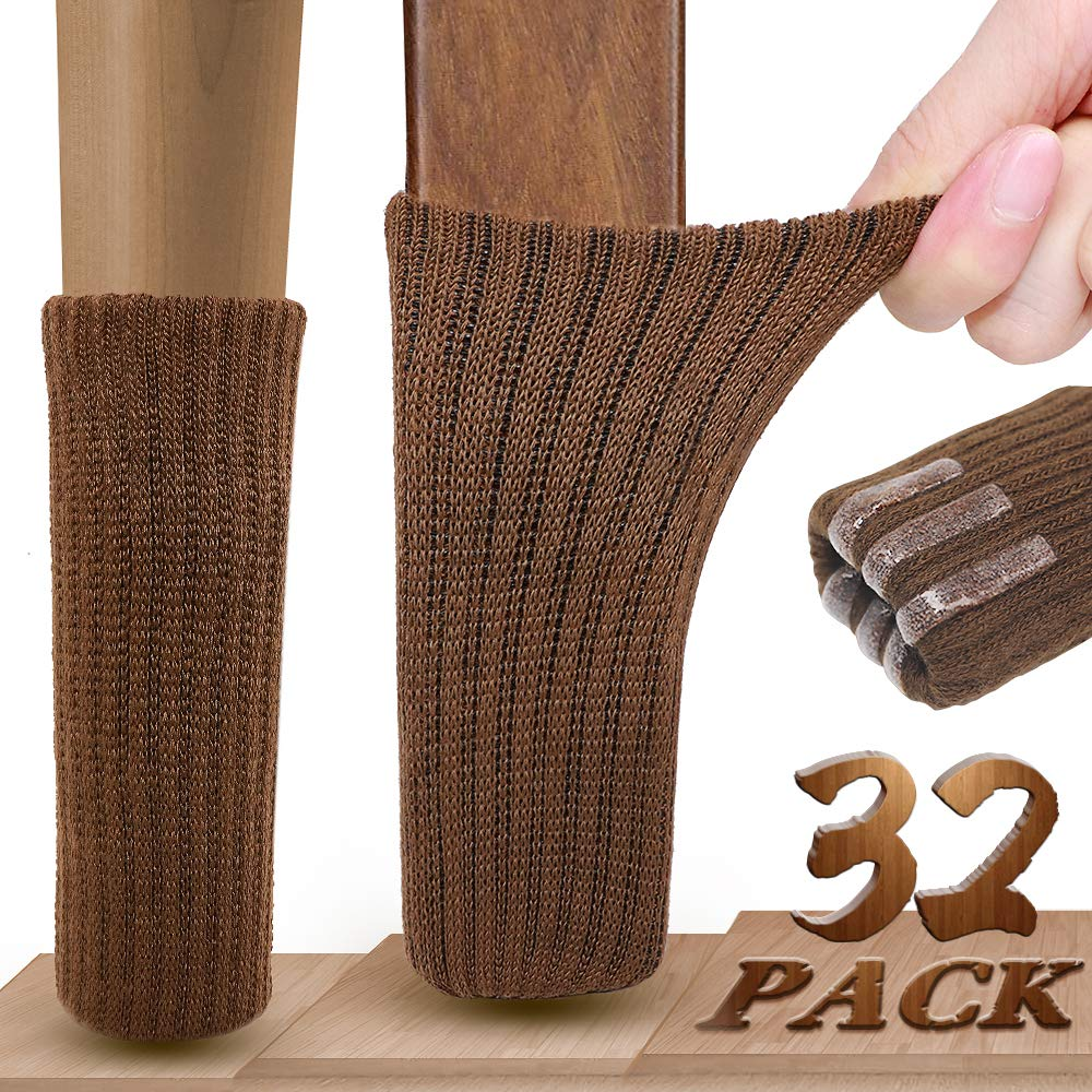 Chair Leg Socks, Ravmix 32PCS Knitted Elastic Non-Slip Rubber Strips Furniture Socks Chair Leg Floor Protectors, Fit Square Round Oval Furniture Feet with Girth from 2.7inch to 7inch, Coffee Brown