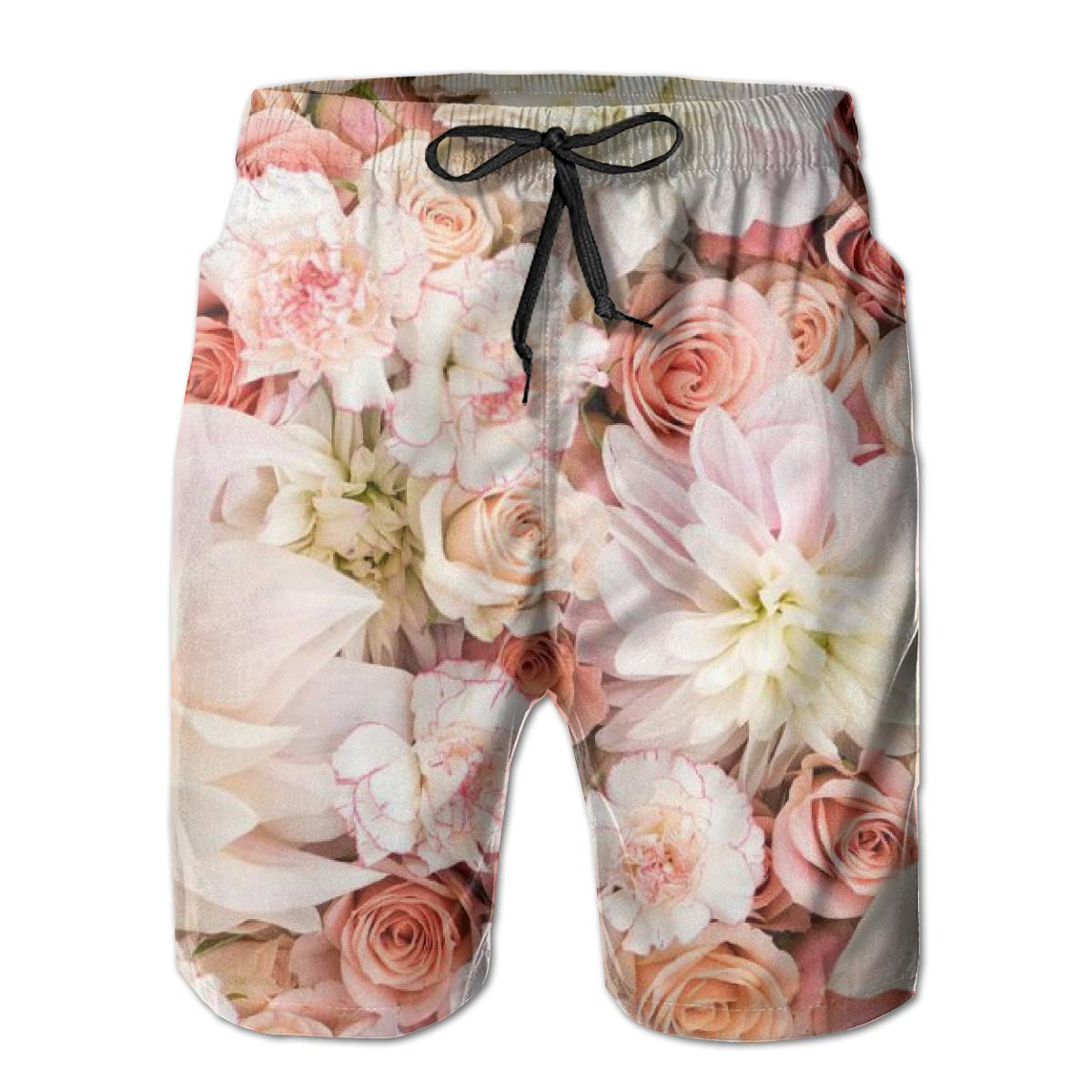Men Board Shorts Swim Trunks Petal Roses Drawstring Elastic Waist Surfing Beach Summer Outfit Pants