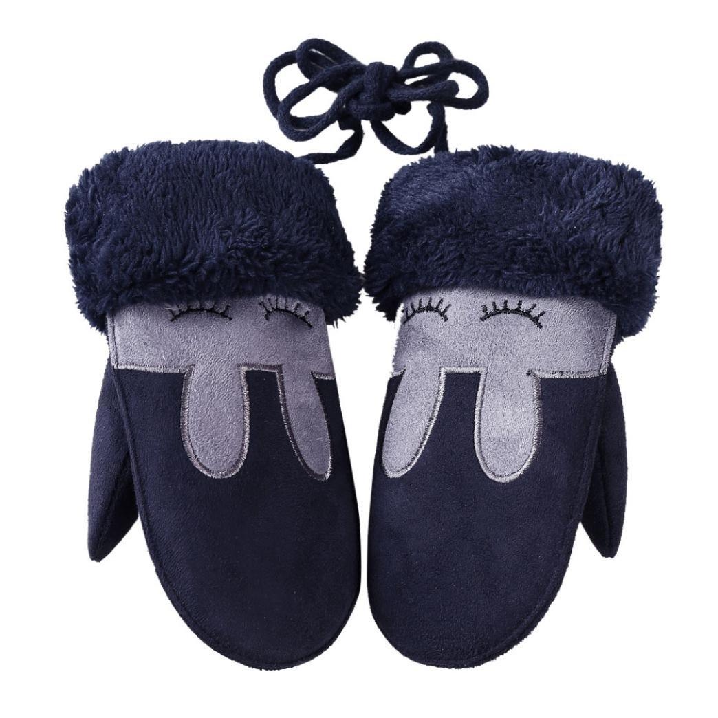 Muium Children Girls Boys Winter Twist Gloves Warm Full Finger Gloves With Ropes