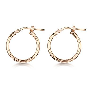 Amberta Rose Plated on Fine 925 Sterling Silver Pair of Round Hinged Hoops - Sleeper Earrings Diameter 10 20 45 65 mm EYaEt7Y