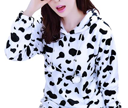 38c3c1fd7247 Suplove Womens Cute black and white cow printing pajamas coral velvet sets  (S