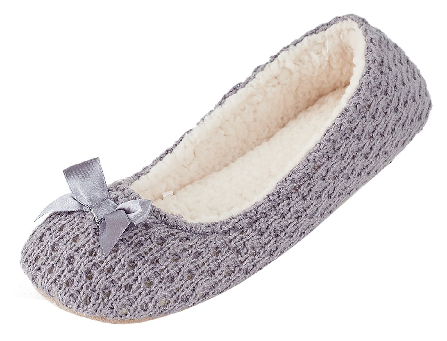 MIXIN Women's Ballerina Elegant and Comfortable Knitted Woolen Soft Sole Indoor Slippers Grey US Size 8