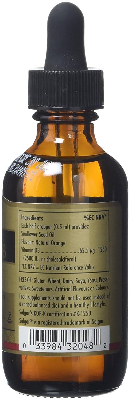 Solgar Liquid Vita D3 - Vitamina, liquído, 59 ml, 5000 IU: Amazon.es: Salud y cuidado personal