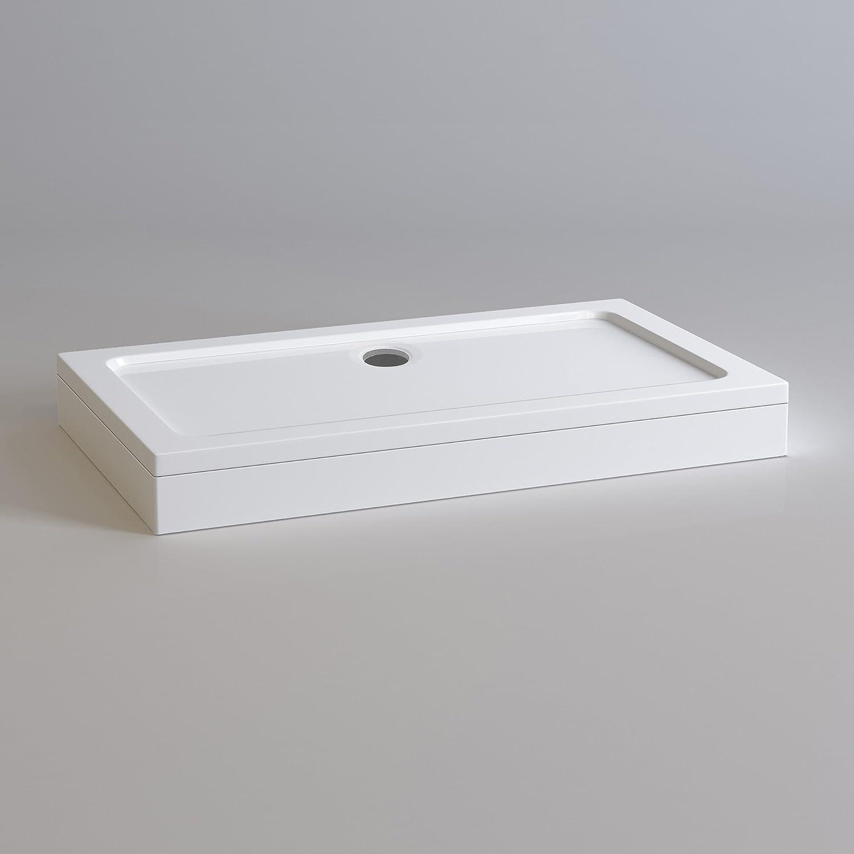 Rectangular 1200 x 700 mm Stone Resin Shower Enclosure Tray with Plinth iBathUK