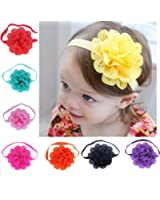 FEITONG(TM) 8Pcs Lovely Baby Girls Flower Headbands Photography Props + 1 PC Cute Pink Headband Accessories (Style A)