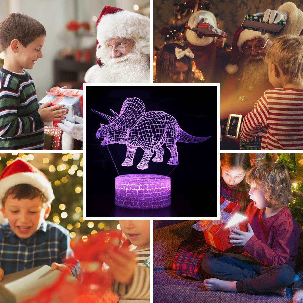 Jianye Dinosaur 3D Night Light Touch Table Desk LampJurassic Velociraptor Projection LED Lamp,Suitable for Baby Nursery Nightlight for Kids Room Home D/écor Xmas Birthday Gifts with7 Color Changing