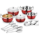 Classic Essentials Stainless Steel Handi Set, 10-Pieces, Red