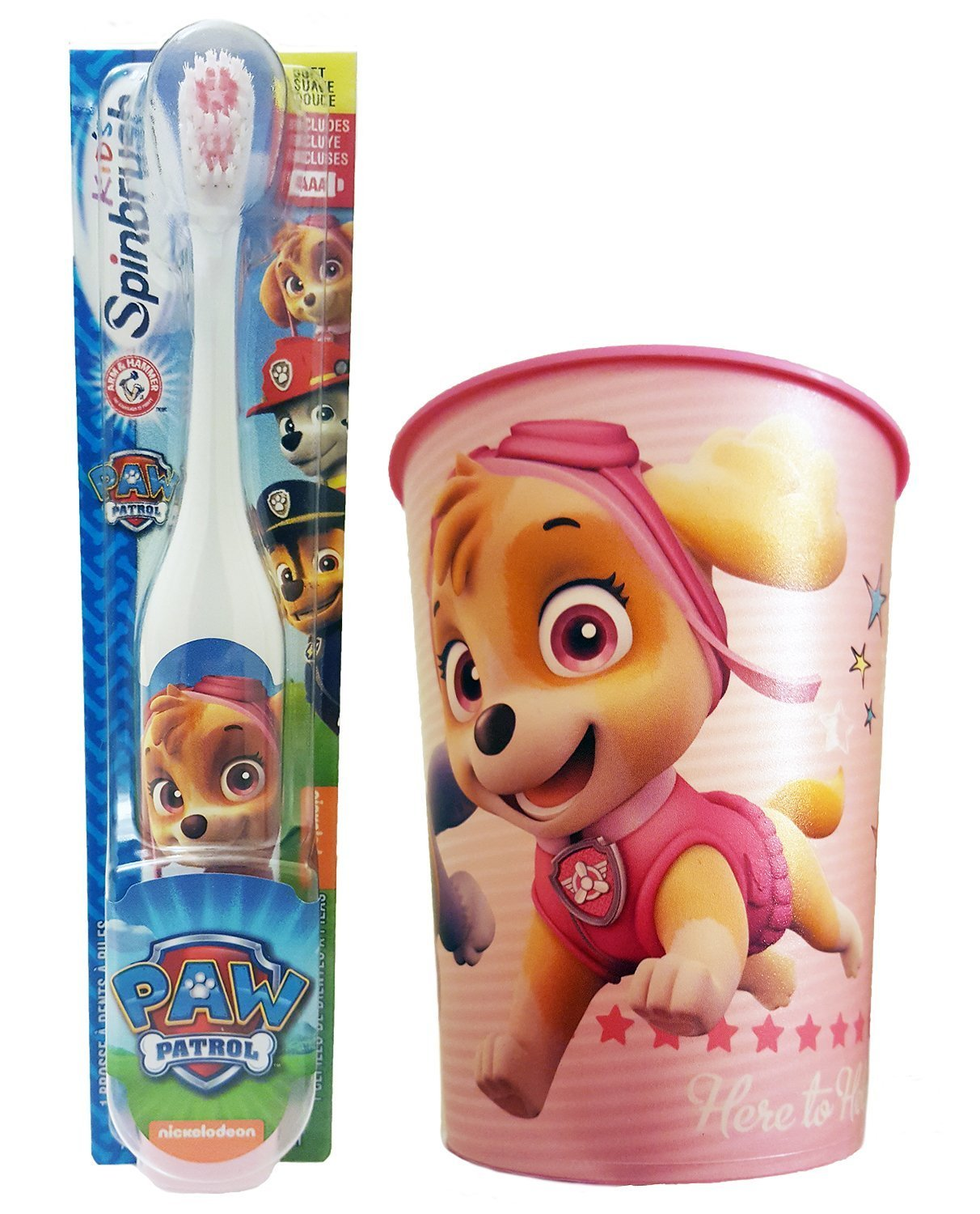 Amazon.com: Paw Patrol Skye Toothbrush & Rinse Cup Bundle: 2 Items - Spinbrush Toothbrush, Pink Character Rinse Cup: Beauty